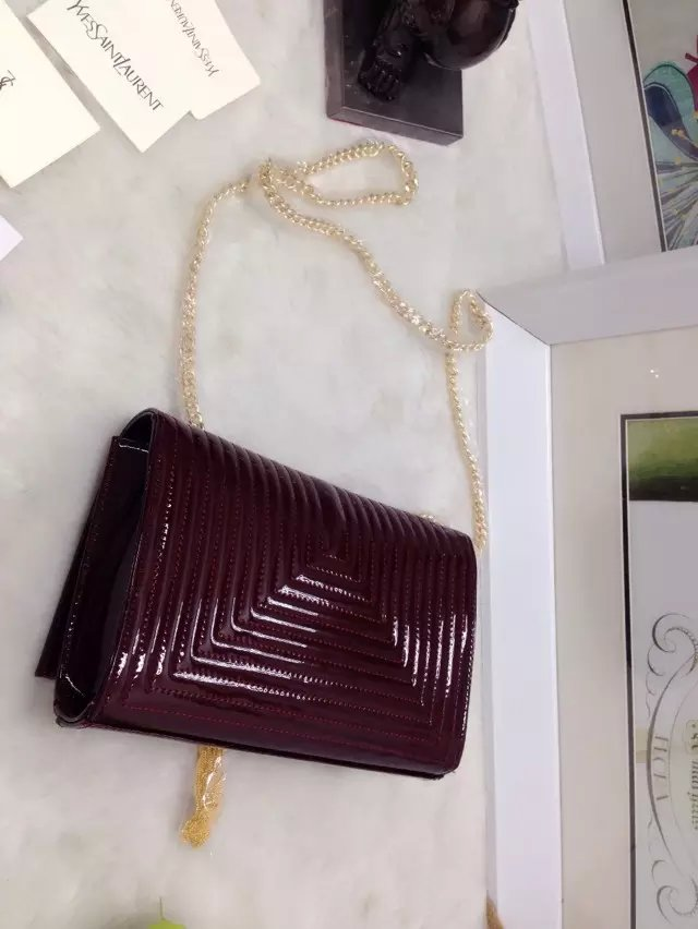 2015 New Saint Laurent Bag Cheap Sale-Classic Monogram Saint Laurent Tassel Satchel in Purple Matelasse Patent Leather