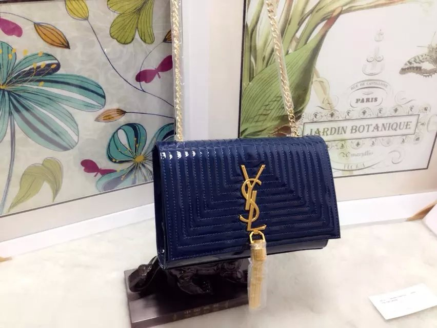 2015 New Saint Laurent Bag Cheap Sale-Classic Monogram Saint Laurent Tassel Satchel in Royal Blue Matelasse Patent Leather