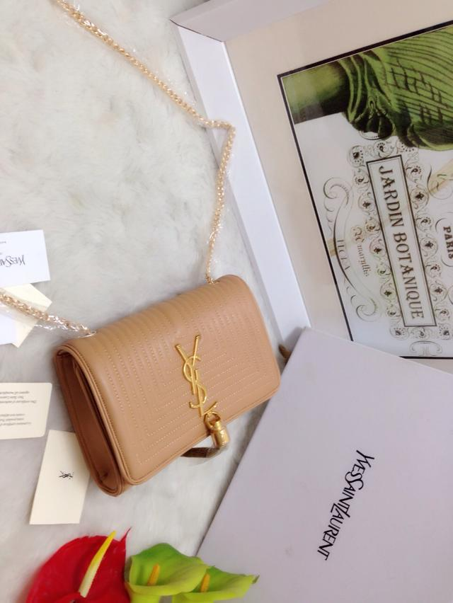 S/S 2015 Saint Laurent Bags Cheap Sale-Classic MONOGRAM SAINT LAURENT Tassel Satchel in Apricot Matelasse Leather