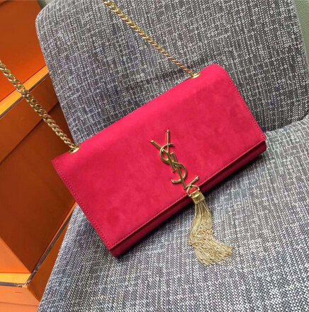 2015 New Saint Laurent Bag Cheap Sale- Classic Monogram Saint Laurent Tassel Satchel in Red Suede Leather