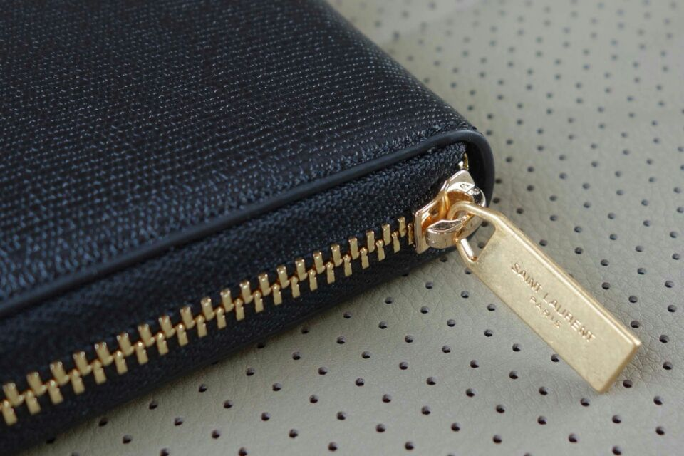 2015 New Saint Laurent Bag Cheap Sale- Saint Laurent Classic Y Zip Around Wallet in Navy Blue Grain Leather