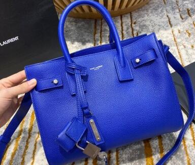 2021 Saint Laurent Classic Baby Sac De Jour Bag in Grained Leather 477477 Blue