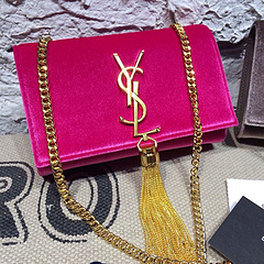 2015 New Saint Laurent Bag Cheap Sale- Classic Monogram Saint Laurent Tassel Satchel in Y0128 Rose Velet