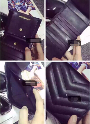 2015 New Saint Laurent Bag Cheap Sale-YSL Wallet in Black Matelasse Grained Leather