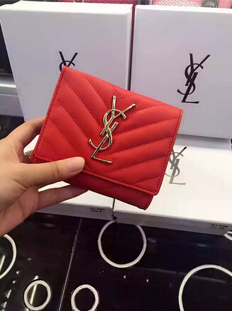 2015 New Saint Laurent Bag Cheap Sale-YSL Wallet in Red Matelasse Grained Leather