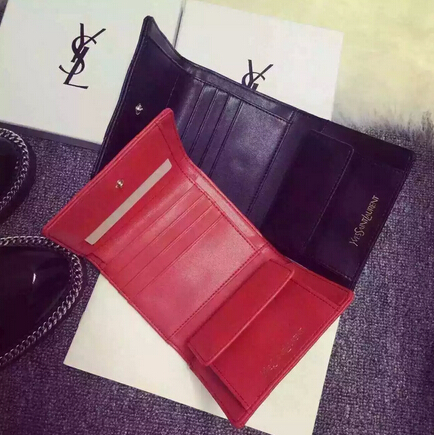 2015 New Saint Laurent Bag Cheap Sale-YSL Wallet in Red Matelasse Grained Leather - Click Image to Close
