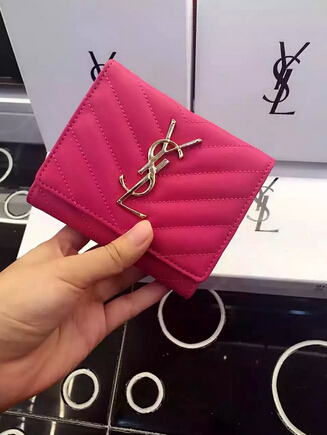 2015 New Saint Laurent Bag Cheap Sale-YSL Wallet in Rose Matelasse Grained Leather