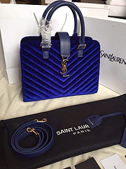 2015 New Saint Laurent Bag Cheap Sale- YSL 25CM Cabas Monogram Saint Laurent in Royal Blue Velet