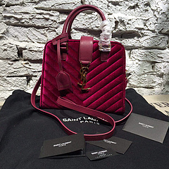 2015 New Saint Laurent Bag Cheap Sale- YSL 25CM Cabas Monogram Saint Laurent in Wine Velet