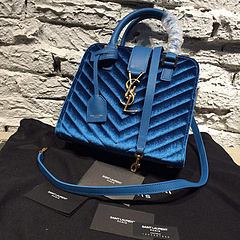 2015 New Saint Laurent Bag Cheap Sale- YSL 30CM Cabas Monogram Saint Laurent in Blue Velet