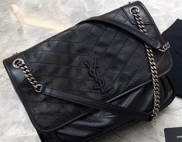YSL Medium Monogramme Niki Chain Bag in Black Vintage Crinkled Leather