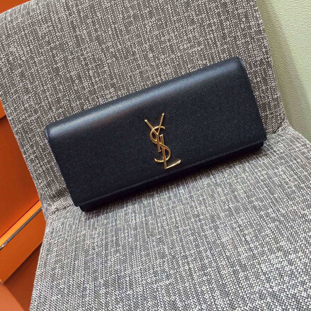 2015 New Saint Laurent Bag Cheap Sale- Classic Monogramme Saint Laurent Clutch in Black Small Grained Leather