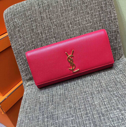 2015 New Saint Laurent Bag Cheap Sale-Classic Monogramme Saint Laurent Clutch in Rose Small Grained Leather