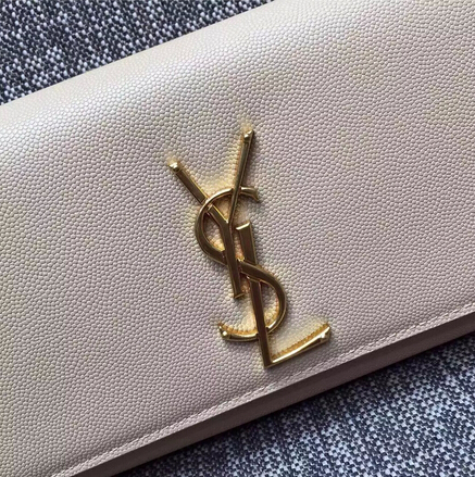 2015 New Saint Laurent Bag Cheap Sale-Classic Monogramme Saint Laurent Clutch in White Small Grained Leather