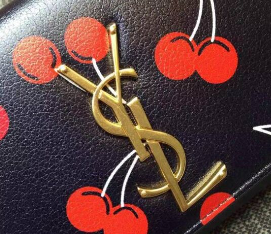 2015 New Saint Laurent Bag Cheap Sale- YSL Cherry Design Clutch in Black Calf Leather Y0602B