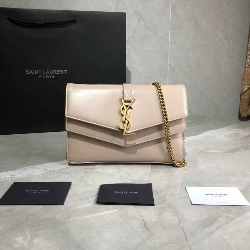 2019 Saint Laurent Sulpice Chain Wallet in NUDE smooth leather