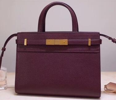2020 Saint Laurent Manhattan Mini Tote Bag in Grained Leather 593742 burgundy