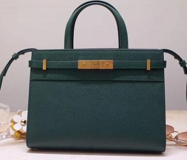 2020 Saint Laurent Manhattan Mini Tote Bag in Grained Leather 593742 Green
