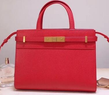 2020 Saint Laurent Manhattan Mini Tote Bag in Grained Leather 593742 RED