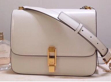 2020 Saint Laurent CARRE satchel in smooth leather WHITE