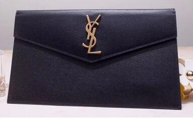 2020 cheap Saint Laurent Uptown Monogramme Medium Envelope Pouch Clutch Bag 565739 Grained Leather Black
