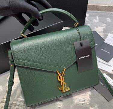 2020 Cheap Saint Laurent Cassandra Top Handle Medium Bag in Grained Leather 578000 green