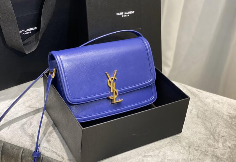 2020 cheap Saint Laurent solferino medium satchel in box saint laurent leather Electric blue