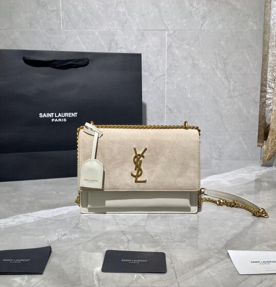 2020 cheap Saint Laurent Sunset Bag white suede leather