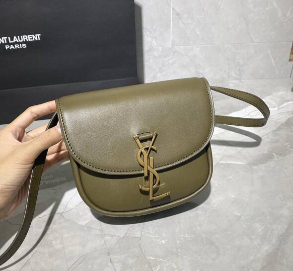 2020 Saint Laurent Kaia Small Satchel in ARMY GREEN smooth vintage leather