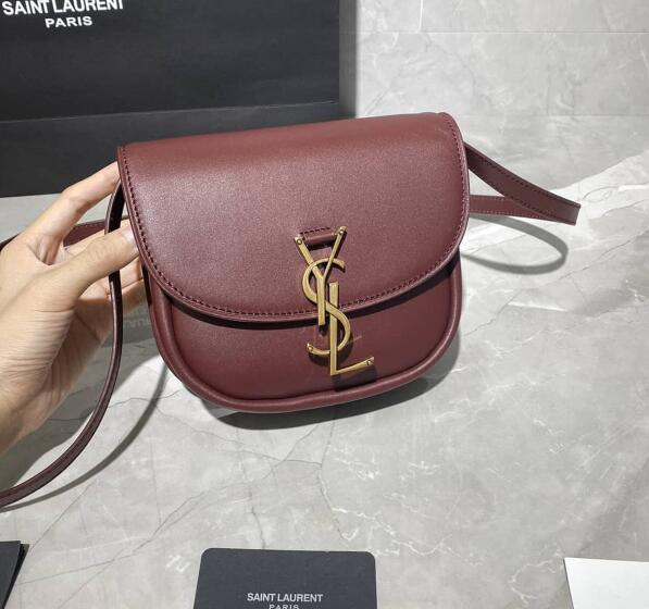 2020 Saint Laurent Kaia Small Satchel in Burgundy smooth vintage leather