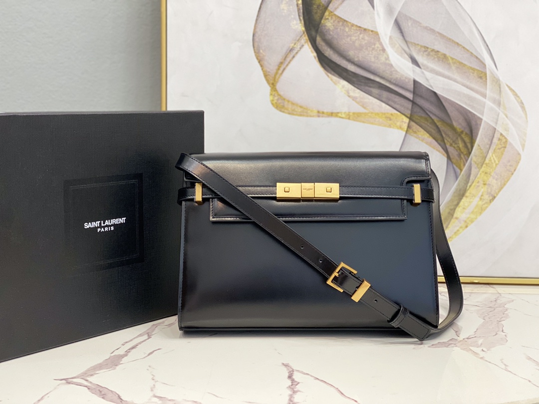 2020 Cheap Saint Laurent manhattan shoulder bag in black CALF leather