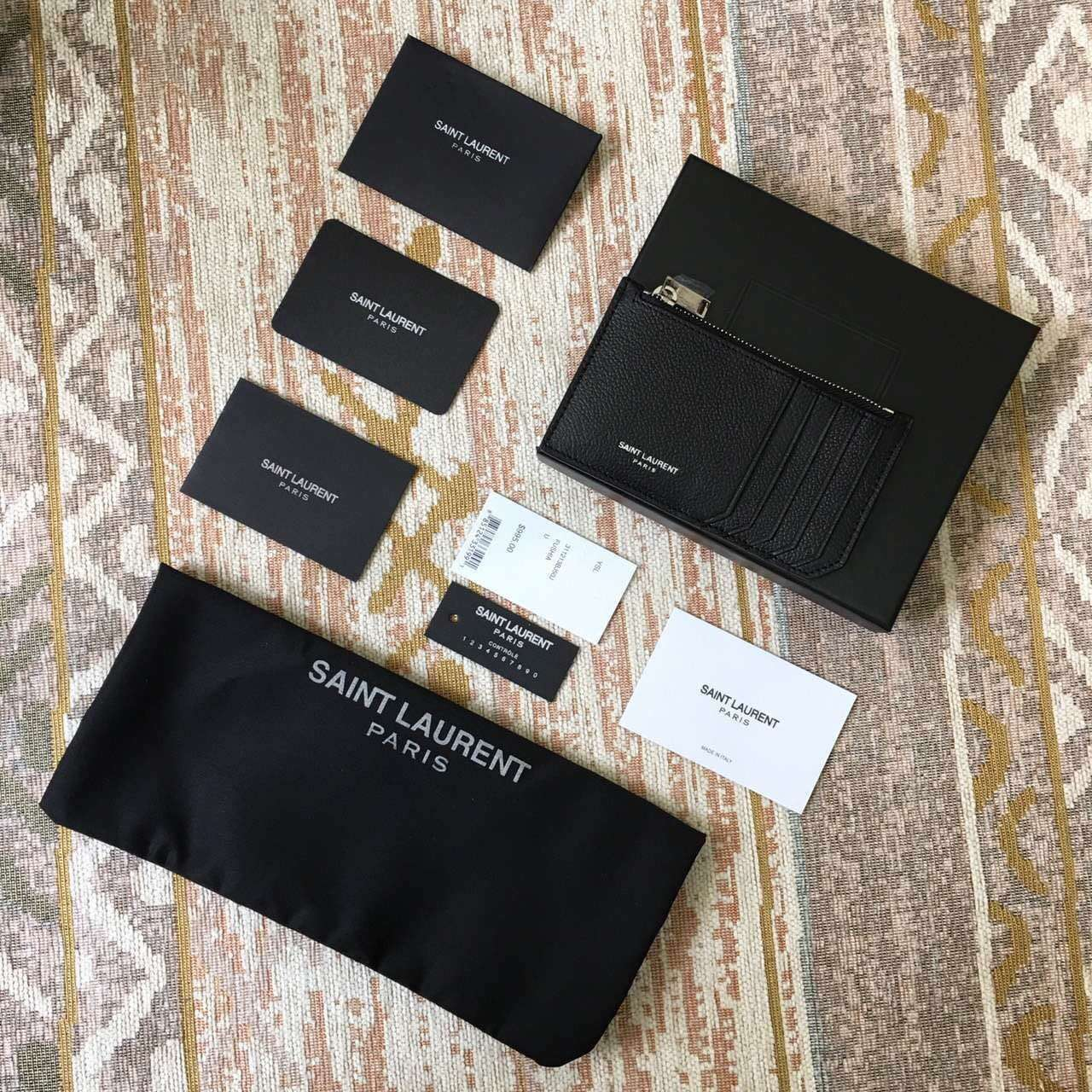 Limited Edition!2016 New Saint Laurent Small Leather Goods Cheap Sale-Saint Laurent Classic Paris 5 Fragments Zip Pouch in Black Leather