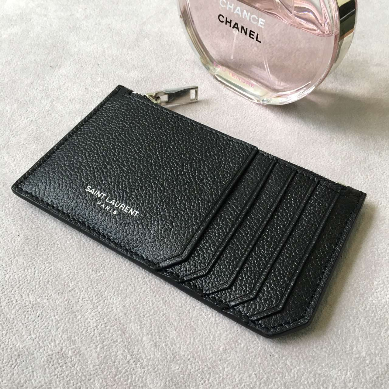 Limited Edition!2016 New Saint Laurent Small Leather Goods Cheap Sale-Saint Laurent Classic Paris 5 Fragments Zip Pouch in Black Leather - Click Image to Close