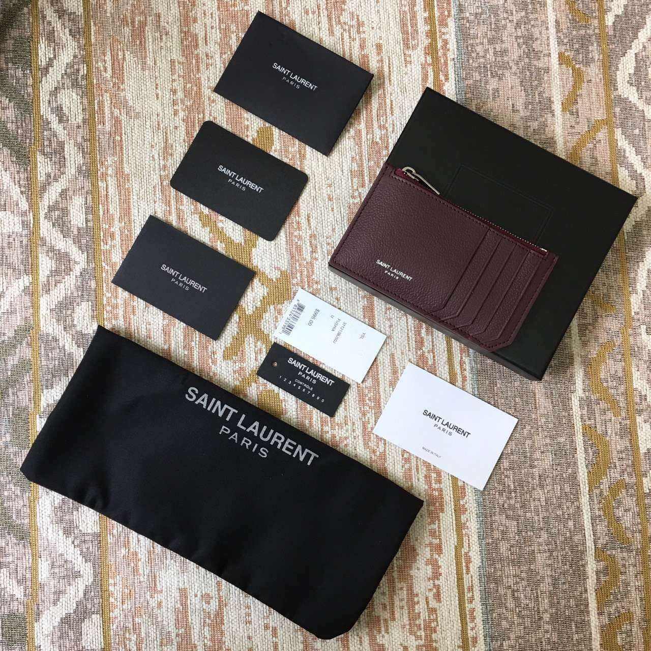 Limited Edition!2016 New Saint Laurent Small Leather Goods Cheap Sale-Saint Laurent Classic Paris 5 Fragments Zip Pouch in Bordeaux Leather