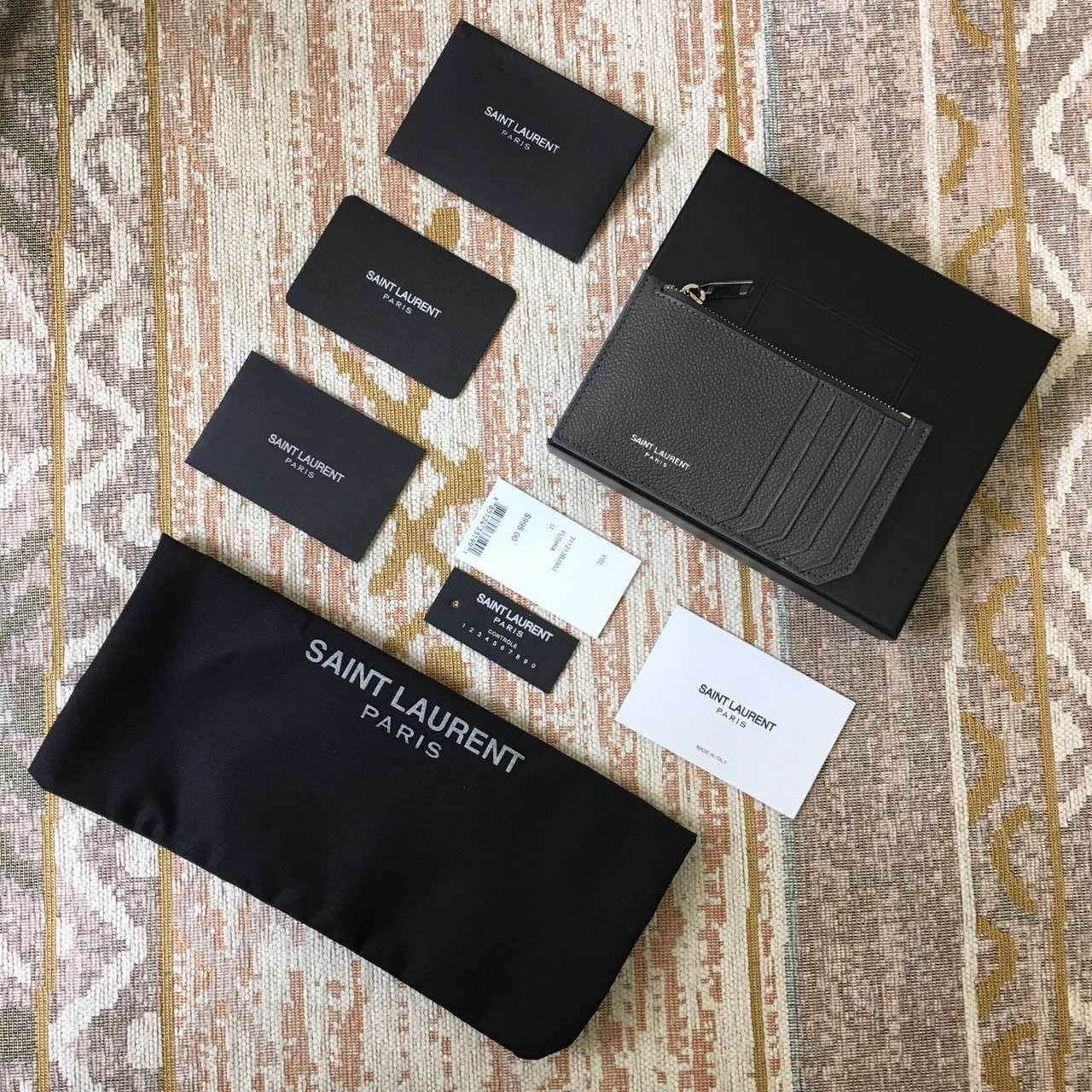 Limited Edition!2016 New Saint Laurent Small Leather Goods Cheap Sale-Saint Laurent Classic Paris 5 Fragments Zip Pouch in Dark Anthracite Leather