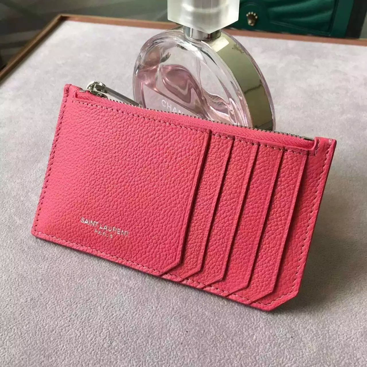 Limited Edition!2016 New Saint Laurent Small Leather Goods Cheap Sale-Saint Laurent Classic Paris 5 Fragments Zip Pouch in Lipstick Fuchsia Leather