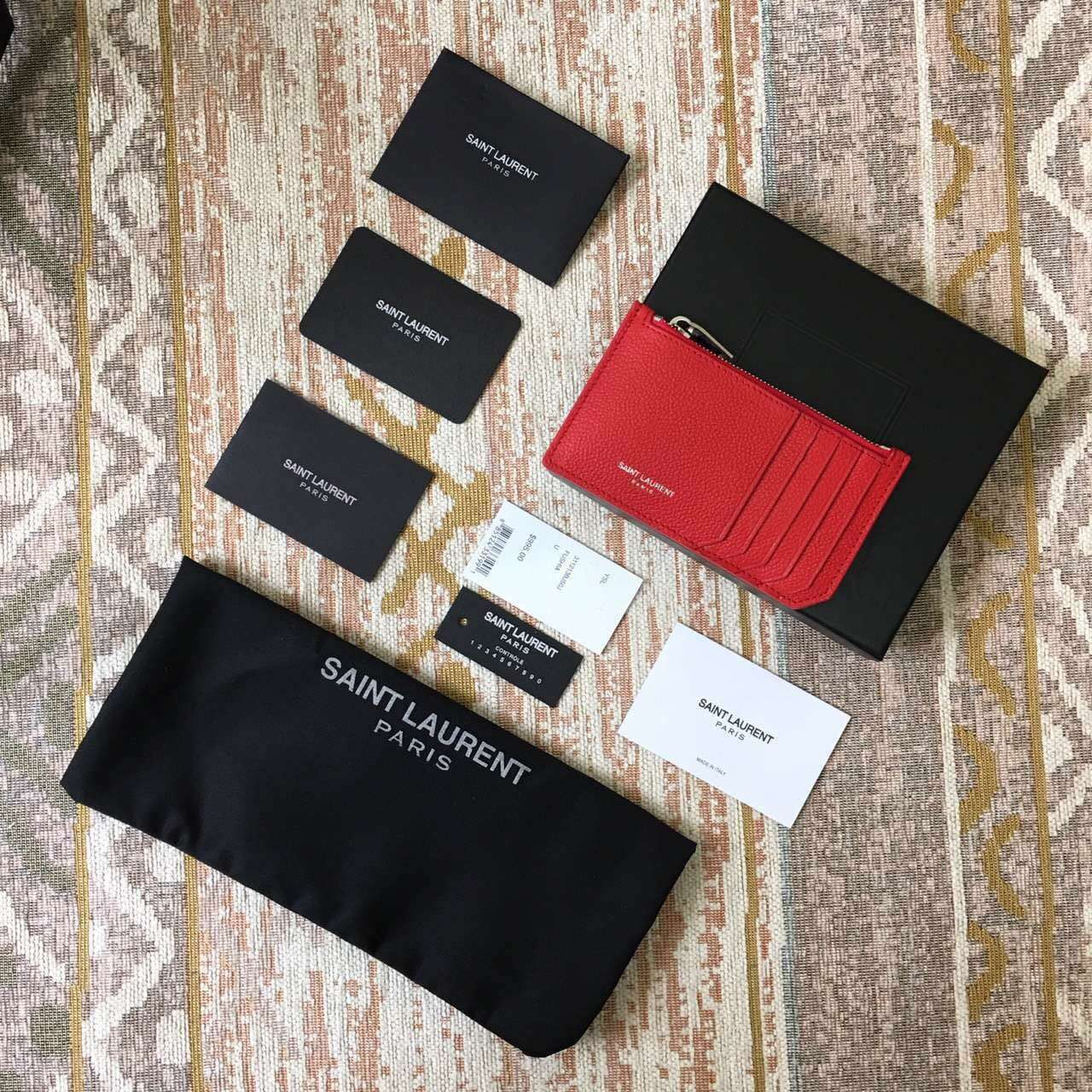 Limited Edition!2016 New Saint Laurent Small Leather Goods Cheap Sale-Saint Laurent Classic Paris 5 Fragments Zip Pouch in Red Leather