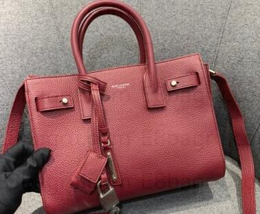 2021 Saint Laurent Classic Baby Sac De Jour Bag in Grained Leather 477477 Burgundy