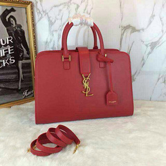 2015 New Saint Laurent Bag Cheap Sale-Small Cabas Monogram Saint Laurent in Red Leather