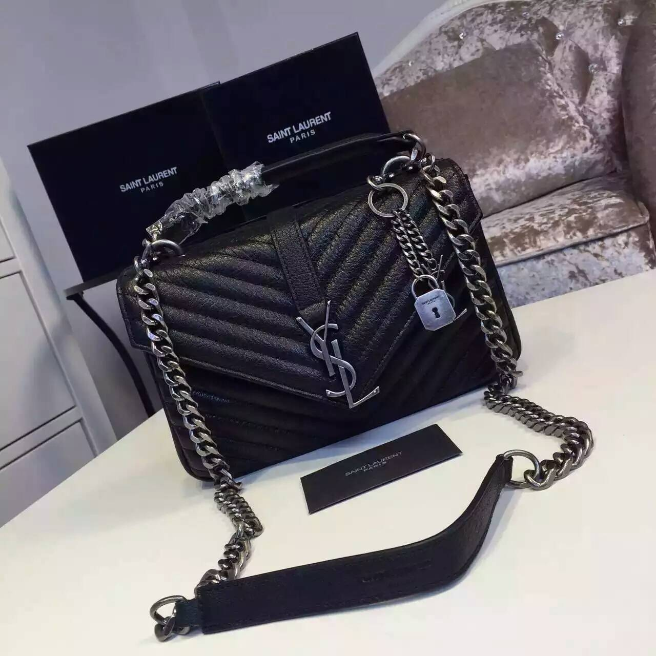 2016 New Saint Laurent Bag Cheap Sale-Saint Laurent Classic Medium COLLEGE MONOGRAM Bag in Black MATELASSE Leather