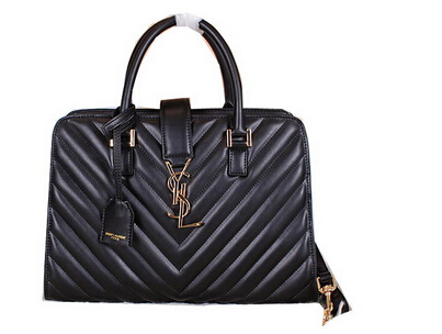 2014 New Saint Laurent Medium Cabas Monogram Leather Top Handle Bag Y7108 Black