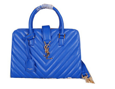 2014 New Saint Laurent Medium Cabas Monogram Leather Top Handle Bag Y7108 Blue