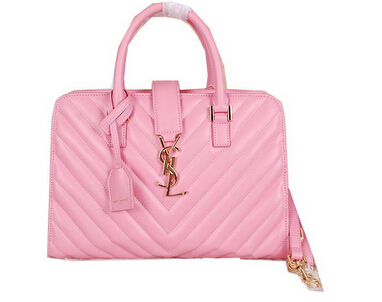 2014 New Saint Laurent Medium Cabas Monogram Leather Top Handle Bag Y7108 Pink