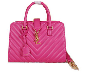 2014 New Saint Laurent Medium Cabas Monogram Leather Top Handle Bag Y7108 Rose