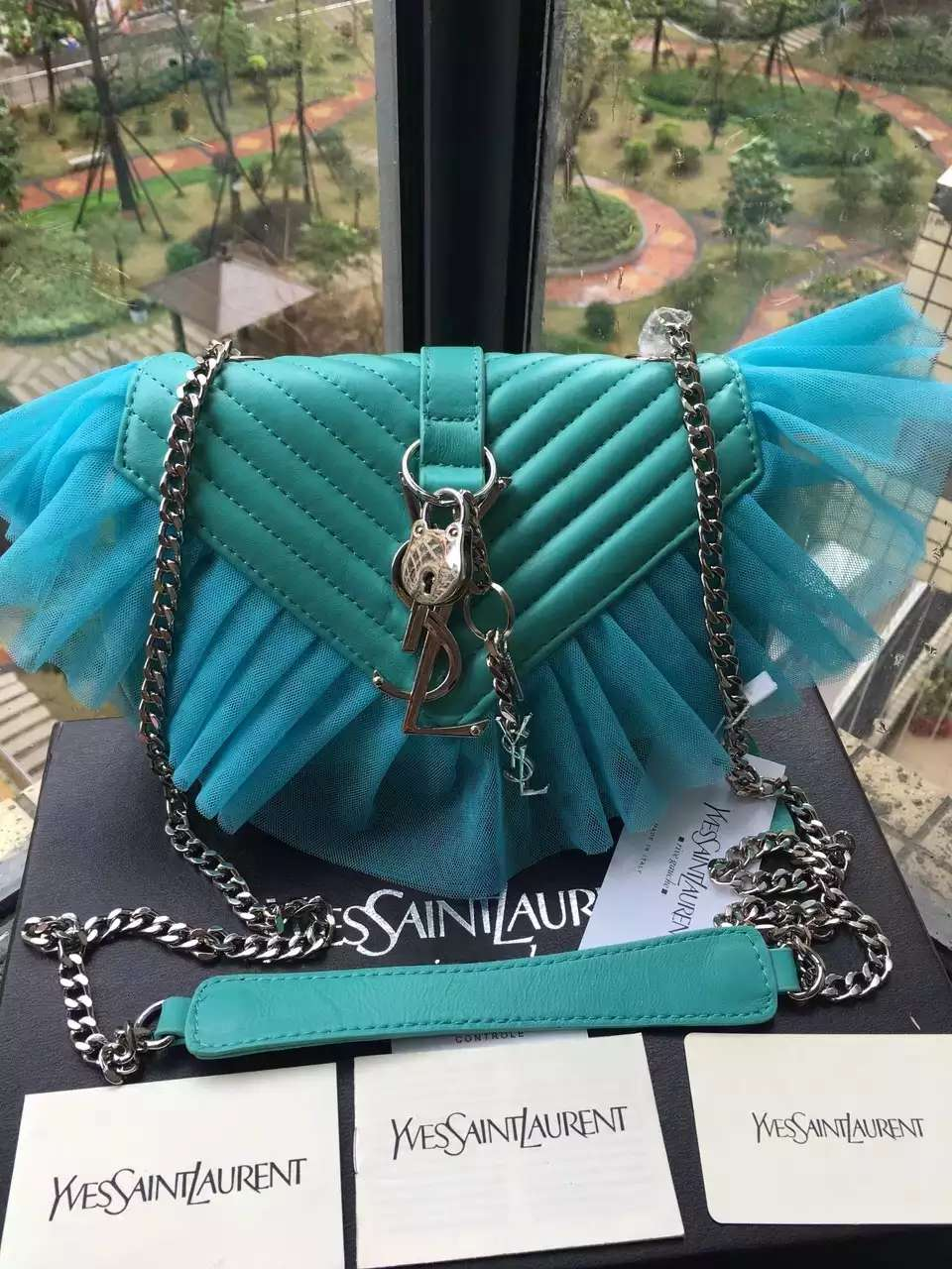 Limited Edition!2016 Saint Laurent Bags Cheap Sale-Saint Laurent Classic Large Baby Monogram Punk Chain Bag in Turquoise Matelasse Leather and Tulle