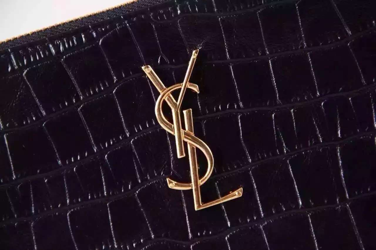 "2016 New Saint Laurent Bag Cheap Sale-Saint Laurent Classic Clutch in Black Crocodile Embossed Leather with Gold ""YSL"""