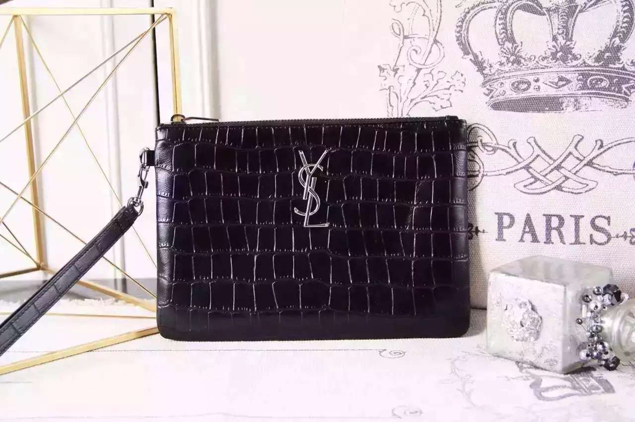 "2016 New Saint Laurent Bag Cheap Sale-Saint Laurent Classic Clutch in Black Crocodile Embossed Leather with Silver ""YSL"""