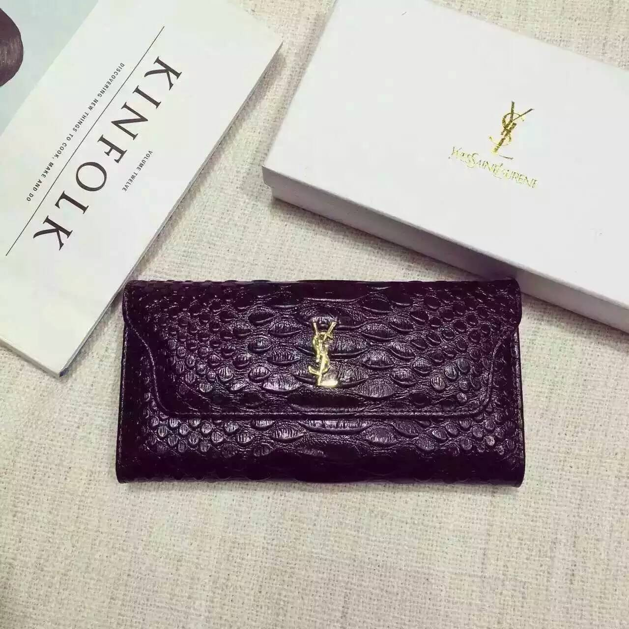 Limited Edition!2016 New Saint Laurent Small Leather Goods Cheap Sale-Saint Laurent Clutch in Black Python Embossed Leather