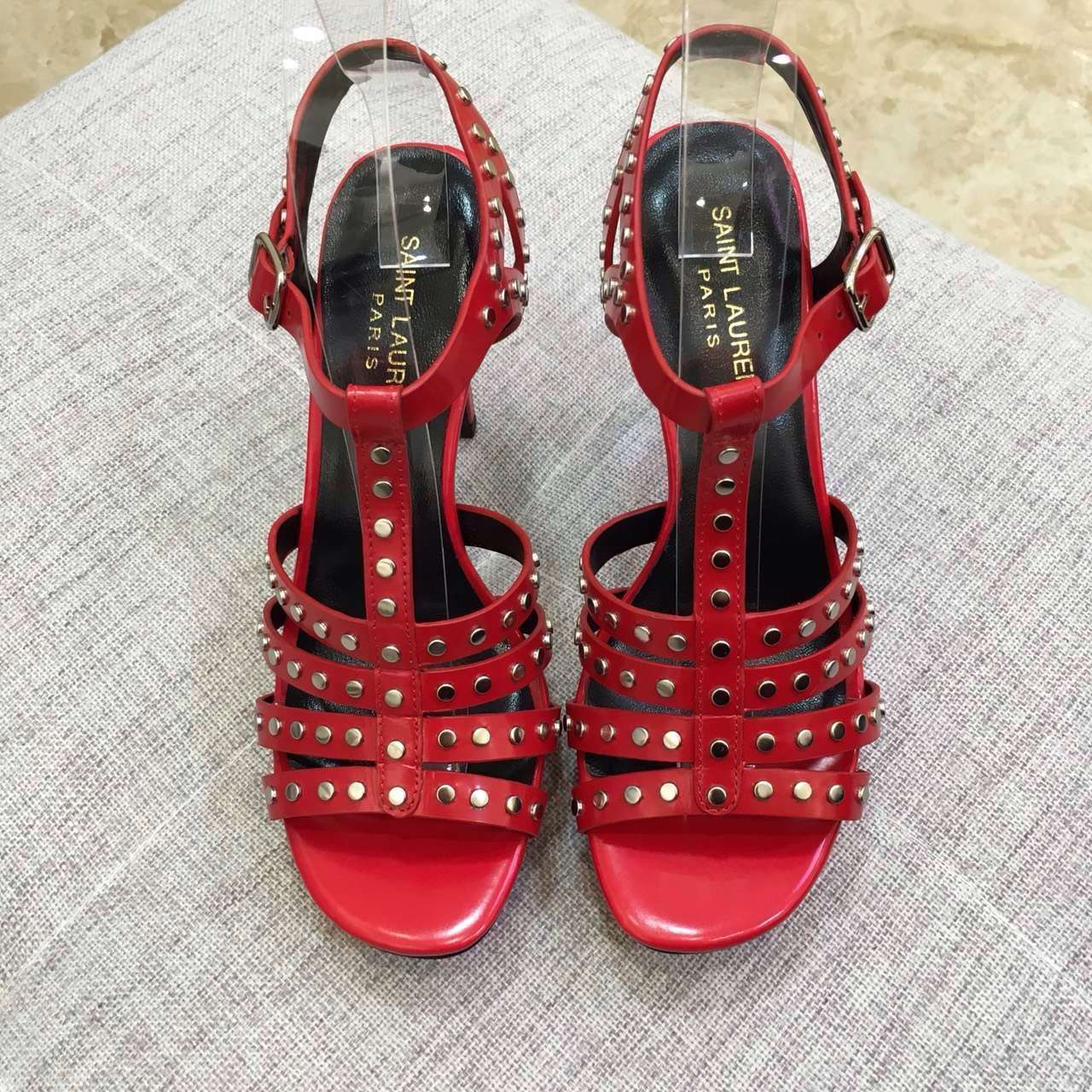 2016 Saint Laurent Shoes Cheap Sale-Saint Laurent Classic TRIBUTE 105 Studded Sandal in Red Leather and Nickel