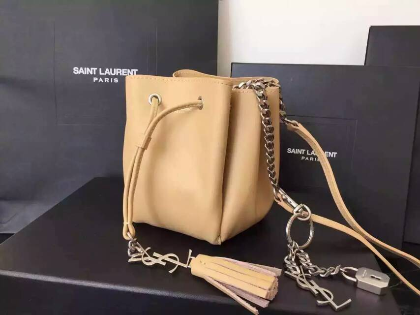 2015 New Saint Laurent Bag Cheap Sale-Saint Laurent Small Emmanuelle Bucket Bag in Apricot Leather